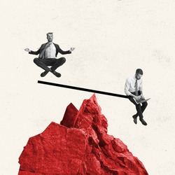 Keep balance in work tasks, goals. Young man, employee, office worker isolated on light background. Collage, illustration. Concept of finance, economy, professional occupation, business, ad.