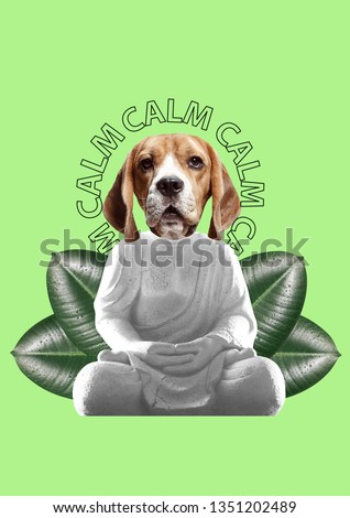 Keep calm and combine incompatible things. Feel appeasement and tranquility. Buddahs statue with dogs head and green leaves against light background. Modern design. Contemporary art collage.