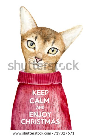 Keep Calm and Enjoy Christmas creative poster concept with a closeup portrait of a cute abyssinian cat. Card of invitation, motivation. Watercolor illustration isolated on a white background.