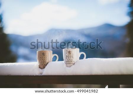 Keep calm mugs and winter landscape