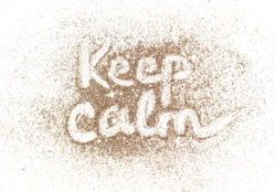 Keep Calm, text of golden glitter on white background