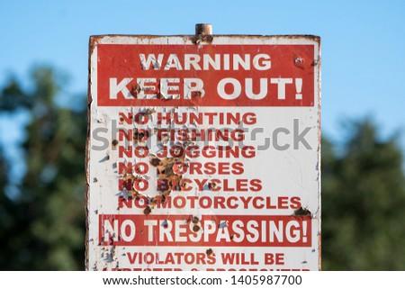 keep out no trespassing, hunting fishing jogging horses bicycles motorcycles sign