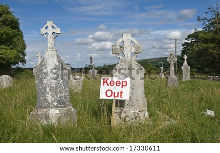 Keep out sign on a cemetery in Ireland