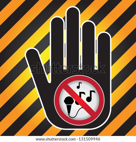 Keep Quiet Sign Present By Hand With No Singing Sign Inside in Caution Zone Dark and Yellow Background