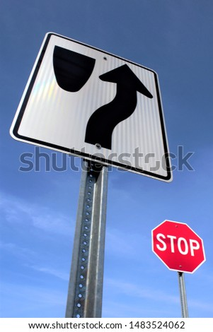 Keep right sign then stop sign