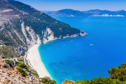 Kefalonia, Greece. View over Myrtos beach, Assos.