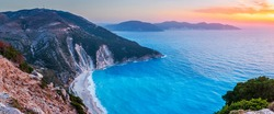 Kefalonia, Greece. View over Myrtos beach at sunset.