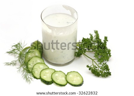 kefir with cucumber, parsley and fennel isolated on white