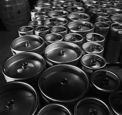 Kegs upon kegs at a brewery