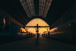 Keleti Railway Station with two trains parked in Budapest, Hungary at sunrise