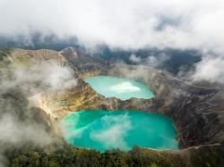 Kelimutu Crater in Flores, lake drone aerial view in Indonesia