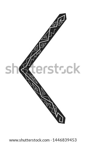 Kenaz rune. Ancient Scandinavian runes. Runes senior futarka. Magic, ceremonies, religious symbols. Predictions and amulets.