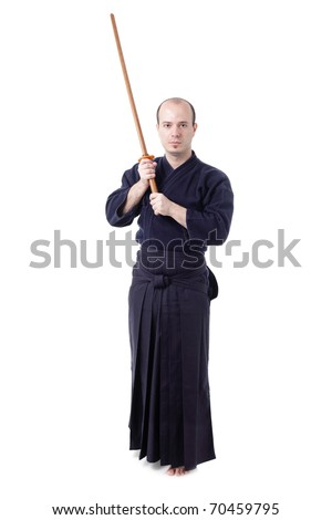kendo fighter with bokken isolated on white