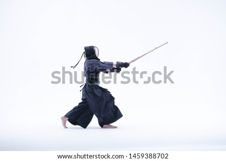 Kendo martial arts fighters in silhouette isolated on white bacground (the japanese script is the name of the fighter ,blank is for the beginners regarding rules ) Stock fotó ©