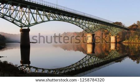 Kennebec River, Rail Trail, Autumn, Fort Western Augusta Maine, Cushnoc Brewery, Kennebec Memorial Bridge, Augusta, Maine, USA #1258784320