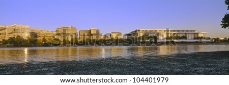 Kennedy Center and Watergate Hotel across Potomac River, Washington DC