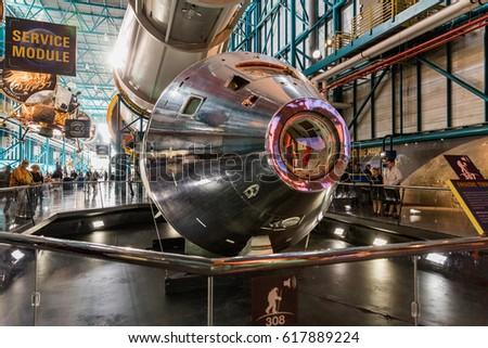 KENNEDY SPACE CENTER, FLO, USA - FEBRUARY 18, 2017: Interior of NASA Kennedy Space Center, Apollo Saturn V Center at Kennedy Space Center, Orlando, Florida.