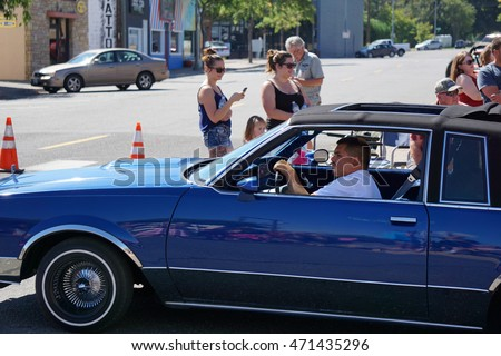 kennewick wa august 20 2016 lowrider cars participate in the the benton