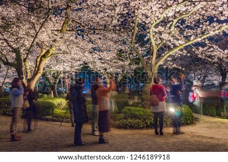 Kenrokuen gardens by night, Kanazawa, Ishikawa Prefecture, Japan, with ghosts of visitors due to long exposure. Kenrokuen is one of the three great gardens of Japan.