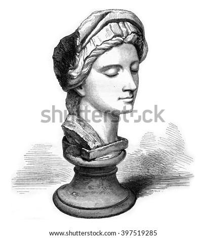 Kensington Museum, London, A marble Michelangelo, vintage engraved illustration. Magasin Pittoresque 1869. Photo stock ©