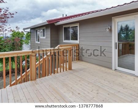 Kent, WA / USA - April 16, 2019: Modern back exterior #1378777868
