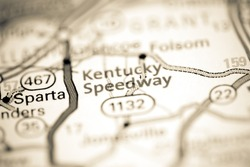 Kentucky Speedway. Kentucky. USA on a geography map