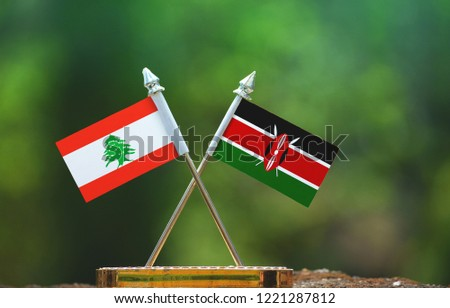 Kenya and Lebanon small flag with blur green background #1221287812