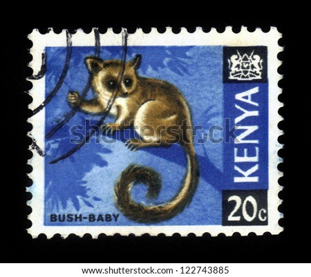 KENYA - CIRCA 1968: A stamp from Kenya shows image of a Senegal bushbaby (Galago senegalensis), circa 1968