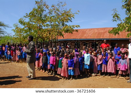 KENYA CIRCA JULY 2009. Children of the Masai tribe in school. The Masai tribe is the most peaceful ethnicity to suit Africa July 2009 in Kenya