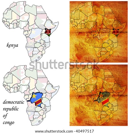 kenya&congo on two kinds of africa map