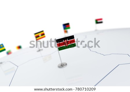 Kenya flag. Country flag with chrome flagpole on the world map with neighbors countries borders. 3d illustration rendering #780710209