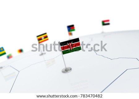 Kenya flag. Country flag with chrome flagpole on the world map with neighbors countries borders. 3d illustration rendering flag #783470482