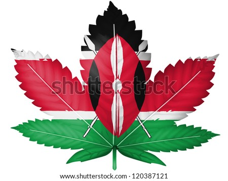 Kenya flag painted on cannabis or marijuana leaf