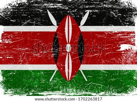 Kenya, Kenya Flag, Kenya Flag Background, Grunge Flag Background, Kenya Vintage Flag Background, Banner, Wallpaper
