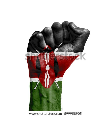 Kenya national flag painted onto a male clenched fist. Strength, Power, Protest concept