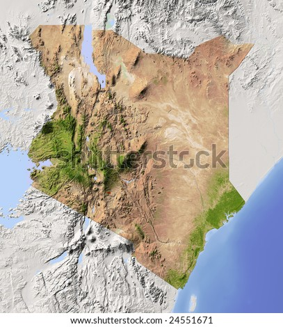 Kenya. Shaded relief map. Surrounding territory greyed out. Colored according to vegetation. Includes clip path for the state area.