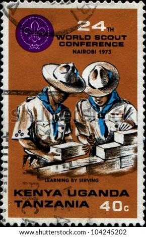 KENYA, UGANDA ,TANZANIA - CIRCA 1973: British stamp valid in Kenya, Uganda and Tanzania dedicated World Scouts Conference, Nairobi, shows two scouts, circa 1973