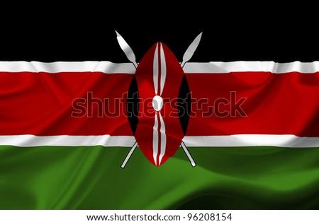 Kenya waving flag - stock photo
