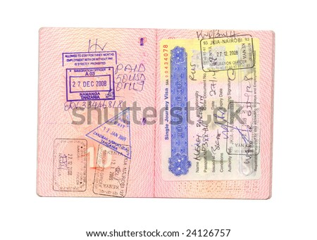 Kenyan and tanzanian visa in passport