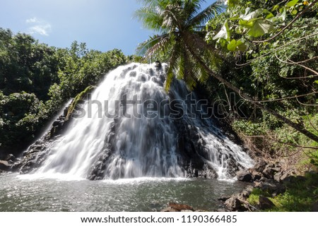 Kepirohi Waterfall in Jungle with Palm trees around, near Nan Madol, Pohnpei island, Federated states of Micronesia, Oceania