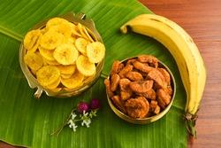 Kerala banana chips for Onam festival popular deep fried snack traditional South Indian tea time snack on banana leaf, Kerala India. fried in coconut oil on Onam, Vishu, Diwali Deepawali, Ramzan, Eid.