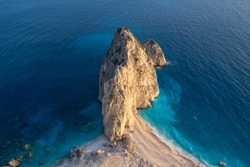 Keri lighthouse viewpoint, amazing rock formation in the sea of Zakynthos, Greece, popular travel destination photospot at sunset