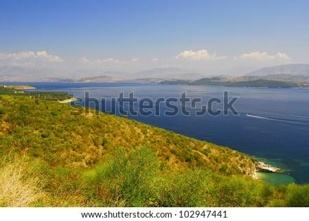Kerkyra, Corf�¹, beach landscape with Albania coast