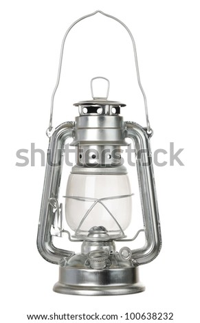 Kerosene lamp isolated on white background