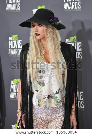 Kesha at the 2013 MTV Movie Awards at Sony Studios, Culver City. April 14, 2013  Los Angeles, CA Picture: Paul Smith