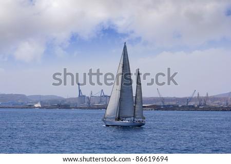 Ketch sailing close to the port of Alicante