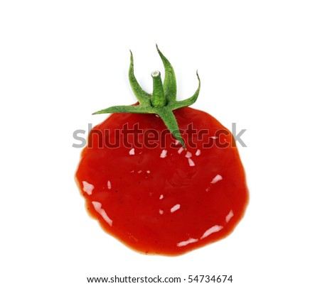 Ketchup drop concept on white background