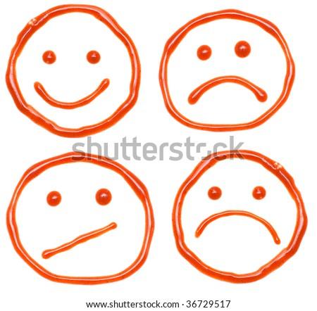 Ketchup fun and sad smiles - stock photo