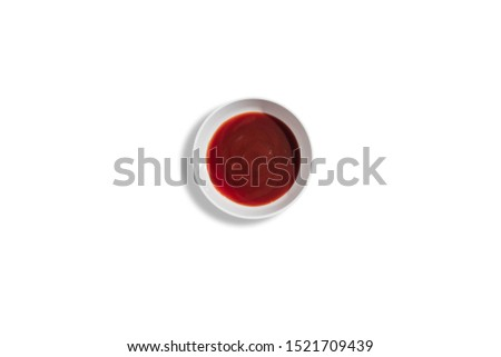 ketchup in cup top view isolated on white with clipping path #1521709439