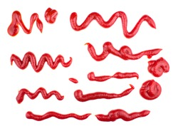 Ketchup splashes, group of objects. Arrangement of red ketchup or tomato sauce, isolated white background.